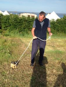Prich with his puppy, Geoffrey
